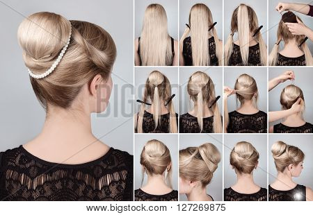 Hairstyle tutorial elegant bun with chignon and string of pearls. Woman blonde with retro hairdo bun