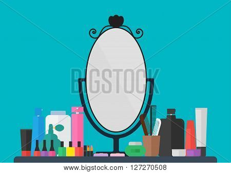 Makeup cosmetics accessories and mirror on table. vector illustration flat design beauty cosmetics concept.