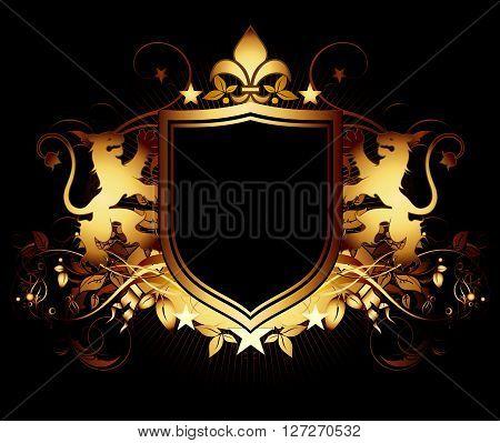 two golden lions keep a shield on the black background