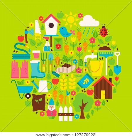 Nature Gardening Vector Flat Circle Shaped Objects Set