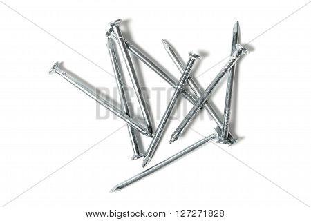 Set of nails isolated on white background