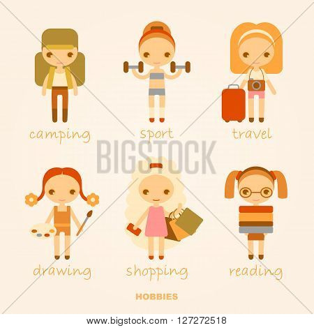 set of vector cartoon illustrations of hobbies