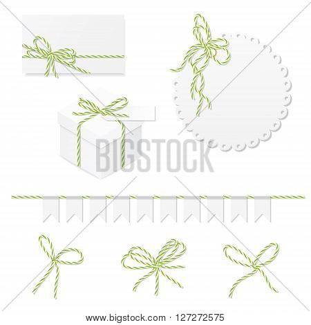Celebration set of card, box, label, banner and green yellow bakers twine bows