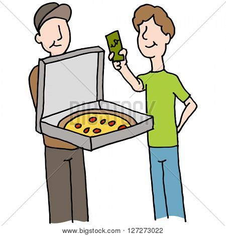 An image of a Man paying pizza delivery guy.