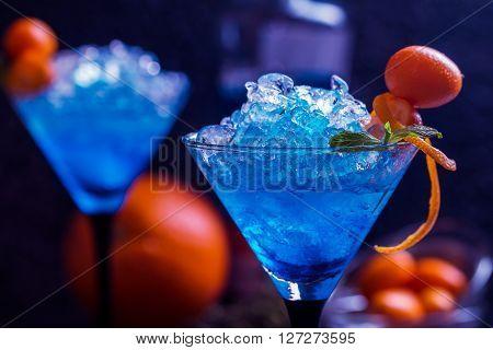 Blue Cocktail In Martini Glasses