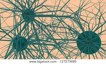 Neuronal Network. 3D rendered Illustration. Abstract image