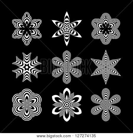 Black and White Abstract Design Elements. Optical Art. Vector Illustration.