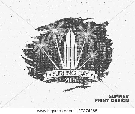 Surfing day label graphic elements. Vector Tropical typography emblem on watercolor monochrome background. Surfer party poster with surf symbols - palms. For web design or tee design print, t-shirt.