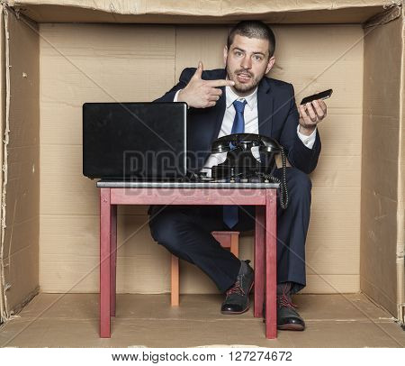 Businessman Can Not Handle A Mobile Phone