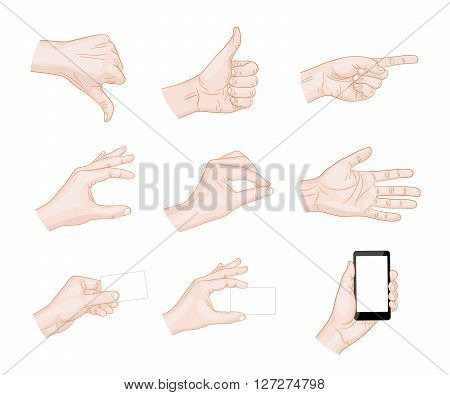 different business hand gestures vector illustration phone