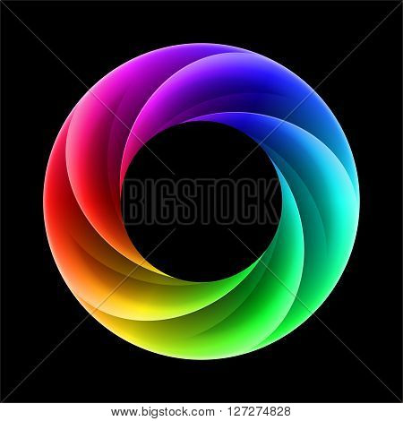 Abstract colorful ring with spectrum layers on black background