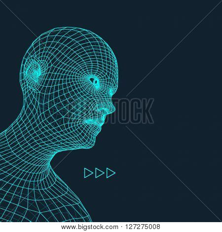 Head of the Person from a 3d Grid. Human Head Wire Model. Face Scanning.