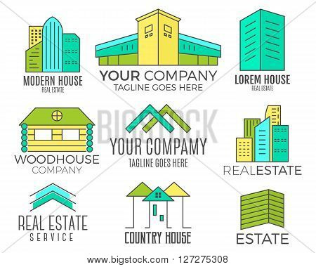 Set of vector house logo designs, real estate icon suitable for info graphics, websites and print media. Vector, flat icon, badges, labels, clip art. Lineart style. Thin line design. Color design.