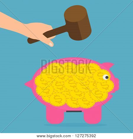 Hand hold wood hammer for destroy piggy bank. Vector illustration flat design money savings concept.
