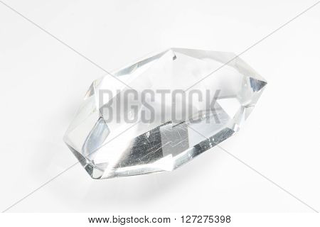 One Glass Crystal On White Background
