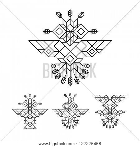 Tribal Owl Symbol. Ornate owl symbol in tribal style. Line Art Design. Owl Icon. Lineart Illustration
