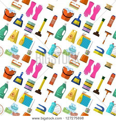 Cleaning washing housework dishes broom bottle sponge icons seamless pattern vector illustration. Background for backdrop to site, textile printing and wrapping paper.