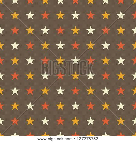 Seamless star pattern in muted vintage colors - brown background with yellow and red and tan stars