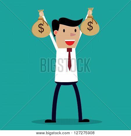 Businessman hands holding money bag. vector illustration in flat design on green background