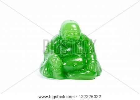 Chinese Figurine Of Paunchy Man On White Background