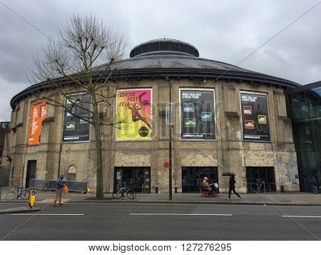 LONDON - APRIL 25: The Roundhouse performing arts and concert venue on April 25, 2016 in London, UK.