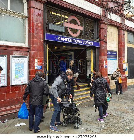 LONDON - APRIL 25: Camden Town Underground Station on April 25, 2016 in London, UK.