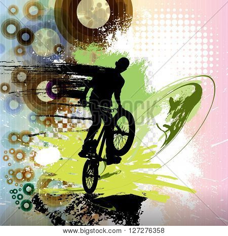 BMX biker, sport illustration