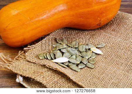 Healthy Food: Pumpkin Seeds and Pumpkin. Studio Photo