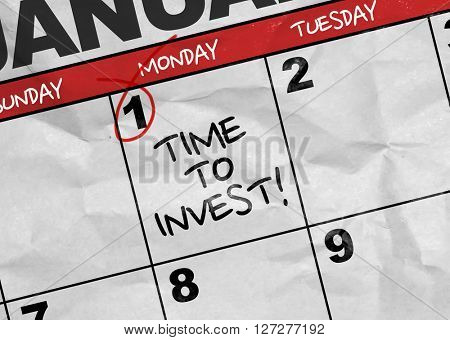 Concept image of a Calendar with the text: Time To Invest