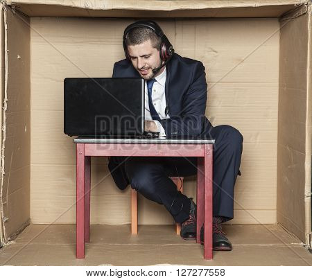 Businessman Focuses On His Work
