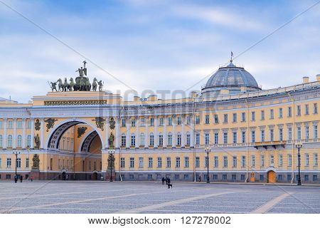 St. Petersburg, Russia - March, 13, 2016: Arch at a Palace Square in St. Petersburg, Russia.