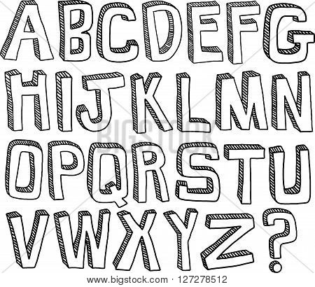 A hand drawn set of English alphabet letters in black and white.