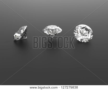 Diamonds on a black background. Gems. 3d digitally rendered illustration