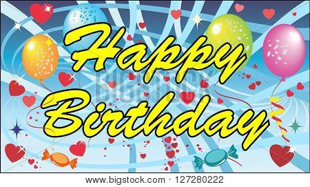 Happy Birthday - Illustration, Party balloons, Confetti and balloons