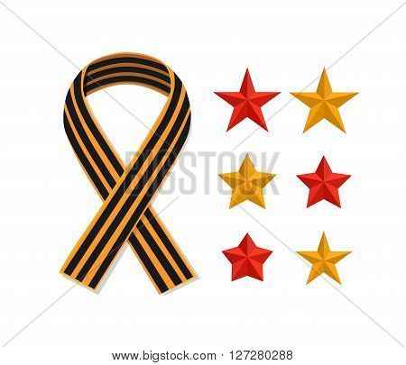 St George striped black and orange ribbon and stars isolated on white. Vector symbol ribbon of great patriotic war Victory day. Saint George ribbon loop. Victory day concept.