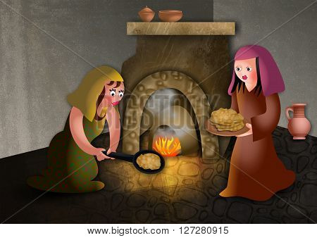 A cartoon illustration of ancient hebrew women baking unleavened bread for the passover meal.
