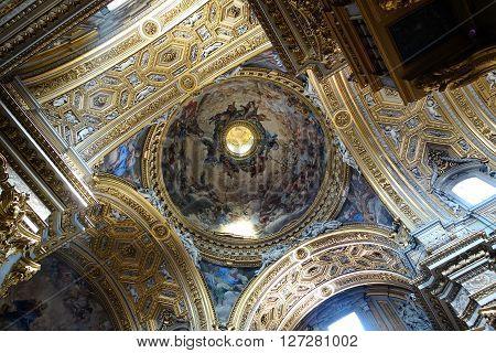 ROME ITALY - APRIL 19 2016: Baroque ceiling in the Santa Maria in Vallicella aka Chiesa Nuova