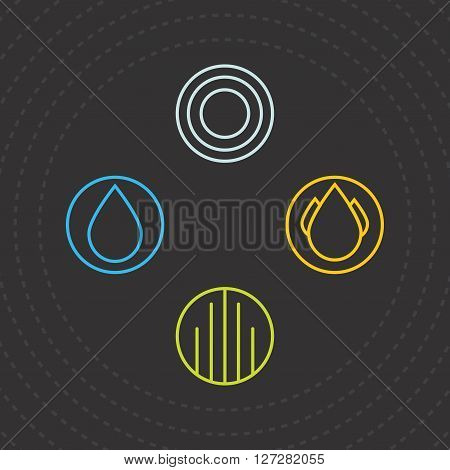 Four Elements. Icons of the four elements. Vector Logo Templates water air earth and fire. Vector illustration.