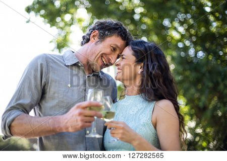 Smiling happy couple enjoying wine in lawn