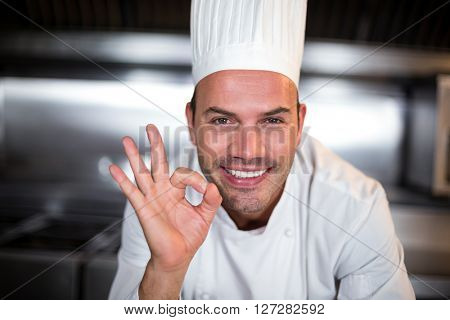 Portrait of smiling happy chef showing ok sign in commercial kitchen