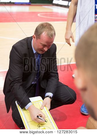 Bc Neptunas Head Coach Kazys Maksvytis During A Timeout