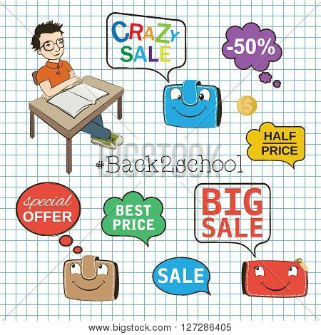 Back to school background, sale icons set, isolated elements, hand drawn sketch text, vector illustration.