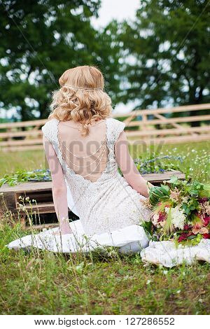 the image of wedding bride in white wedding dress
