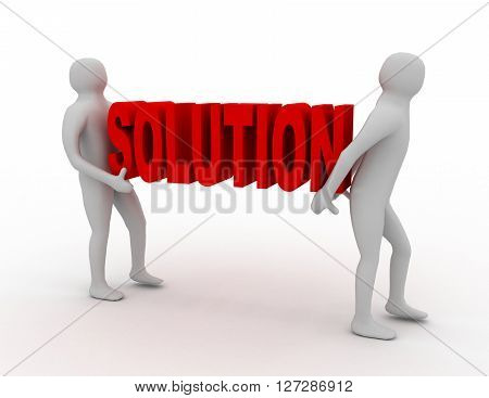 White 3D People Carry Red Solution Word. Business Success Concept