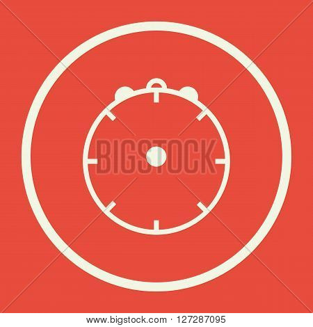 Clock Icon In Vector Format. Premium Quality Clock. Web Graphic Clock Sign On Red Background.
