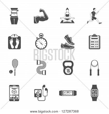 Fitness, Gym, Health Flat Icons Set for Mobile Applications, Web Site, Advertising like Yoga, Runner, Weight and Gadgets.