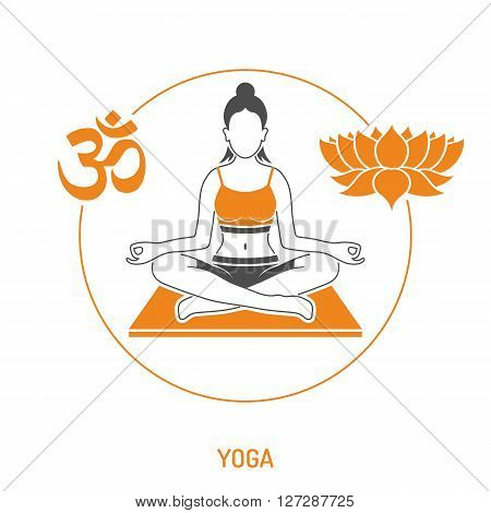 Yoga and Fitness Concept for Mobile Applications, Web Site, Advertising like Yoga Woman, Om Sign and Lotus Icons.
