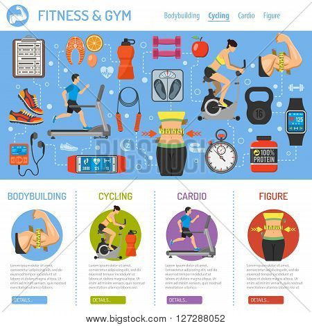 Fitness, Gym, Cardio, Healthy Lifestyle Infographics for Mobile Applications, Web Site, Advertising with Exercise Bike, Treadmill, Waist and Gadgets.