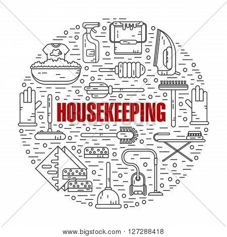 Vector modern line style color illustration of housekeeping. Vacuum cleaner, washing machine, gloves, brush, brush, bucket, broom, iron, wiper, sponges. Round shape icons concept.