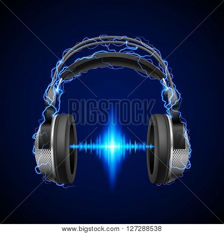 Headphones in blue flashes and lighting with luminous equalizer line
